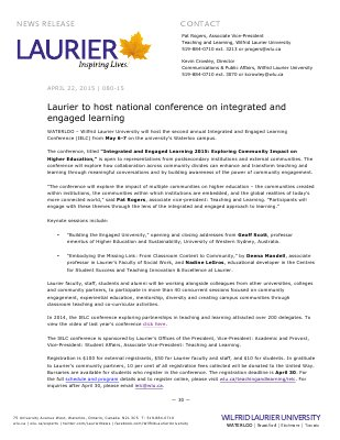 080-2015 : Laurier to host national conference on integrated and engaged learning