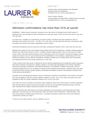 111-2015 : Admission confirmations rise more than 21% at Laurier