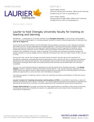 124-2015 : Laurier to host Chengdu University faculty for training on teaching and learning