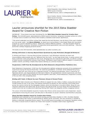 132-2015 : Laurier announces shortlist for the 2015 Edna Staebler Award for Creative Non-Fiction