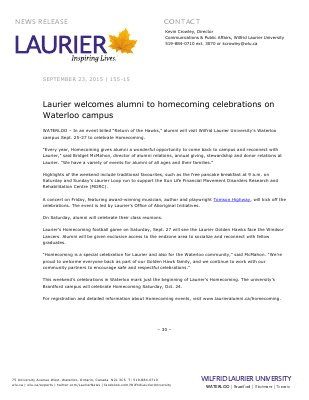 155-2015 : Laurier welcomes alumni to homecoming celebrations on Waterloo campus