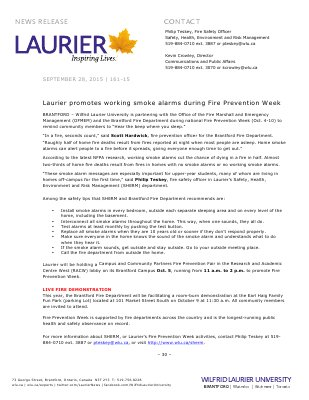 161-2015 : Laurier promotes working smoke alarms during Fire Prevention Week