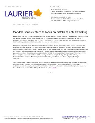 174-2015 : Mandela series lecture to focus on pitfalls of anti-trafficking