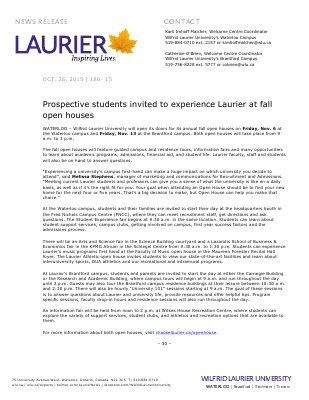180-2015 : Prospective students invited to experience Laurier at fall open houses