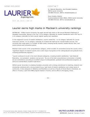 186-2015 : Laurier earns high marks in Maclean's university rankings