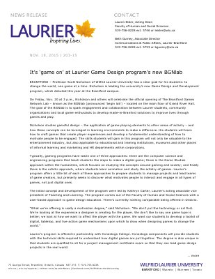 203-2015 : It's 'game on' at Laurier Game Design program's new BGNlab