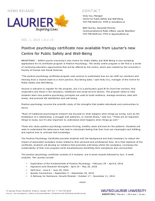 211-2015 : Positive psychology certificate now available from Laurier's new Centre for Public Safety and Well-Being