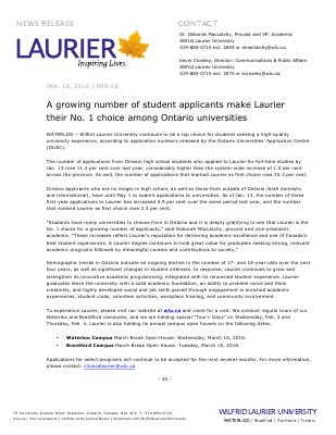 008-2016 : A growing number of student applicants make Laurier their No. 1 choice among Ontario universities