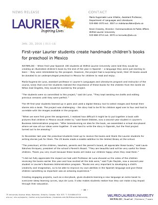 011-2016 : First-year Laurier students create handmade children's books for preschool in Mexico