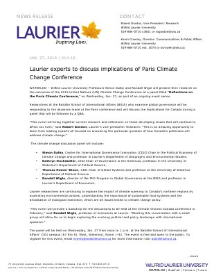 014-2016 : Laurier experts to discuss implications of Paris Climate Change Conference