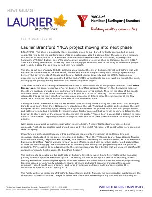 021-2016 : Laurier Brantford YMCA project moving into next phase
