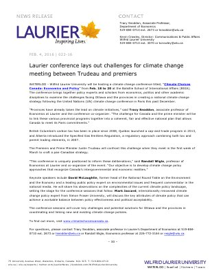 022-2016 : Laurier conference lays out challenges for climate change meeting between Trudeau and premiers