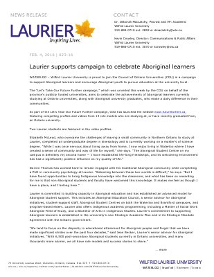 023-2016 : Laurier supports campaign to celebrate Aboriginal learners