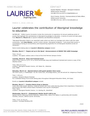 043-2016 : Laurier celebrates the contribution of Aboriginal knowledge to education