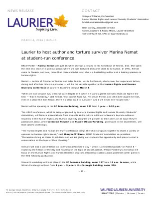 045-2016 : Laurier to host author and torture survivor Marina Nemat at student-run conference