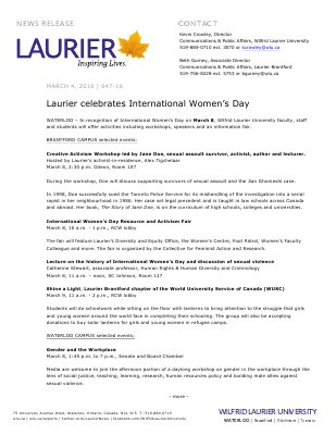 047-2016 : Laurier celebrates International Women's Day