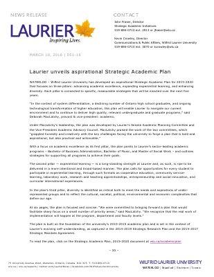 051-2016 : Laurier unveils aspirational Strategic Academic Plan