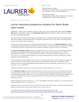 056-2016 : Laurier welcomes prospective students for March Break open houses