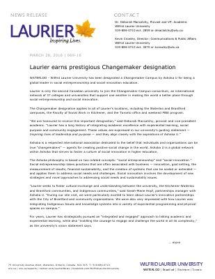 069-2016 : Laurier earns prestigious Changemaker designation