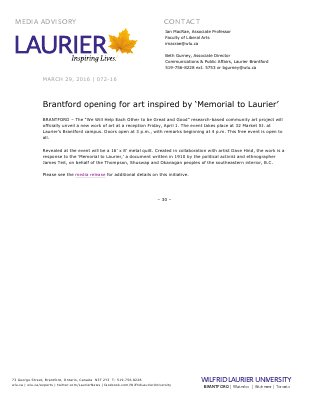 072-2016 : Brantford opening for art inspired by 'Memorial to Laurier'