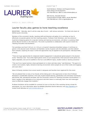 078-2016 : Laurier faculty play games to hone teaching excellence