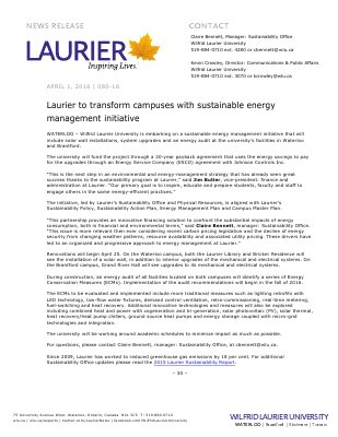 080-2016 : Laurier to transform campuses with sustainable energy management initiative