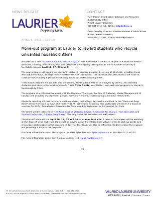 085-2016 : Move-out program at Laurier to reward students who recycle unwanted household items