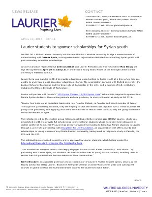 087-2016 : Laurier students to sponsor scholarships for Syrian youth