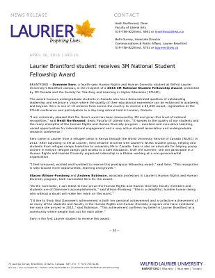 095-2016 : Laurier Brantford student receives 3M National Student Fellowship Award