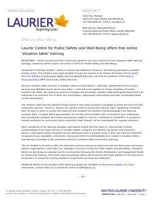 096-2016 : Laurier Centre for Public Safety and Well-Being offers free online 'situation table' training