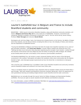 106-2016 : Laurier's battlefield tour in Belgium and France to include Brantford students and community