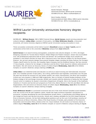 112-2016 : Wilfrid Laurier University announces honorary degree recipients