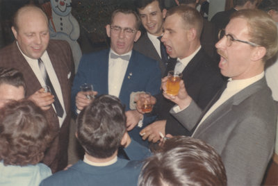 Alfred Kunz and a group of men singing