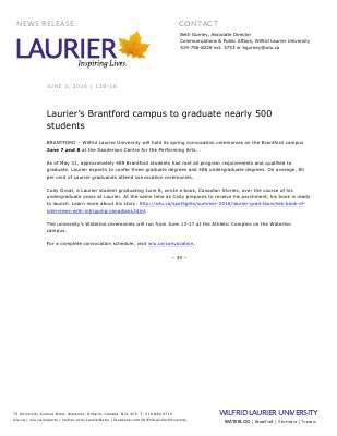 128-2016 : Laurier's Brantford campus to graduate nearly 500 students