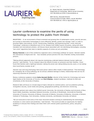 136-2016 : Laurier conference to examine the perils of using technology to protect the public from threats
