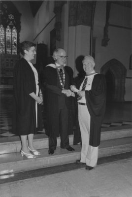 Howard Jerome receiving honorary degree from Royal Canadian College of Organists, 1985