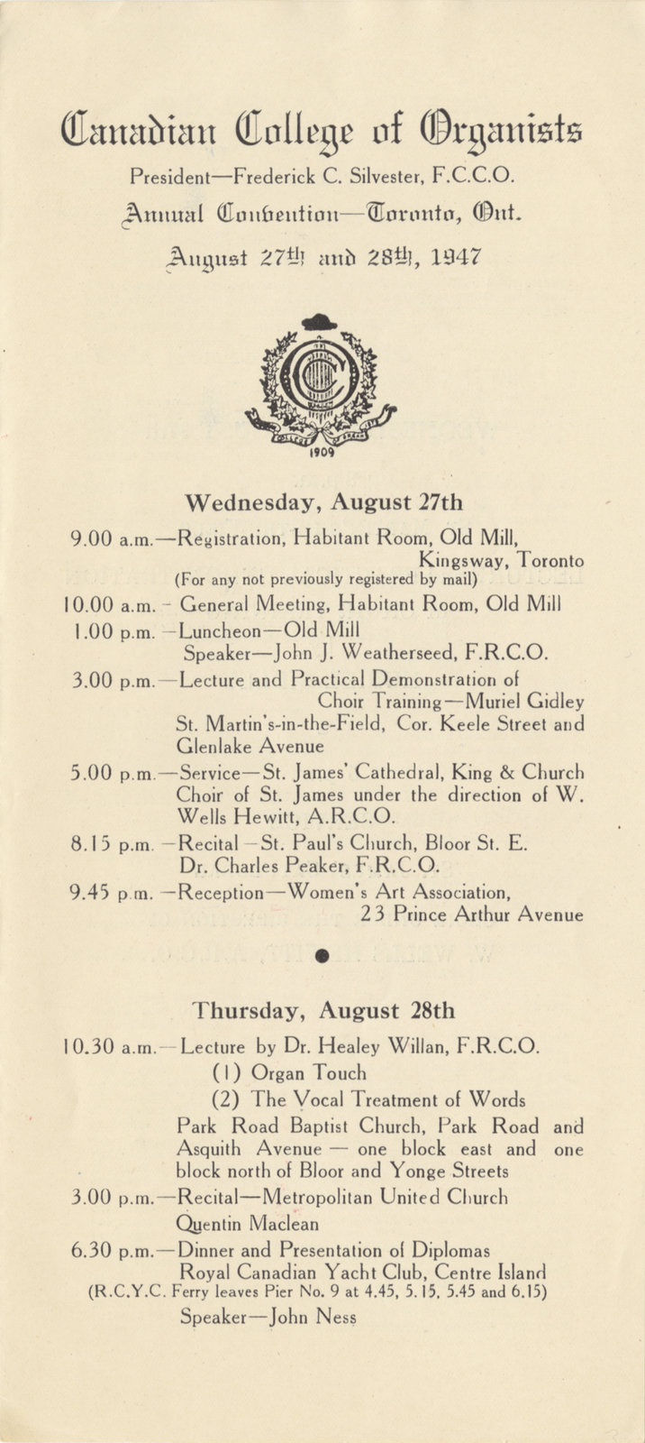 Canadian College of Organists annual convention program, 1947