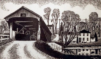 Covered Bridge With Buggy