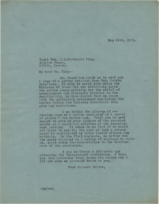 Letter from C. Mortimer Bezeau to William Lyon Mackenzie King, May 26, 1931