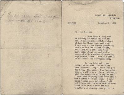 Letter from William Lyon Mackenzie King to C. Mortimer Bezeau, November 3, 1931