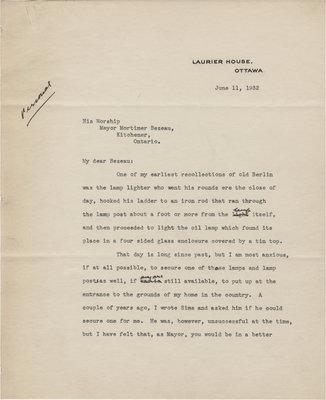 Letter from William Lyon Mackenzie King to C. Mortimer Bezeau, June 11, 1932