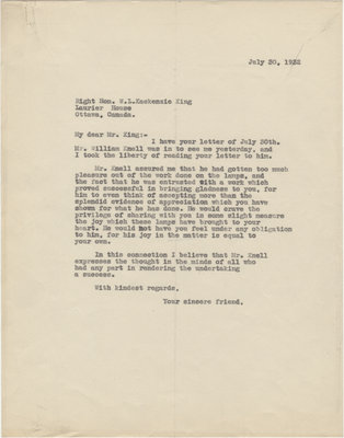Letter from C. Mortimer Bezeau to William Lyon Mackenzie King, July 30, 1932