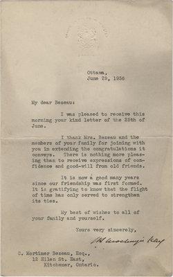 Letter from William Lyon Mackenzie King to C. Mortimer Bezeau, June 29, 1936