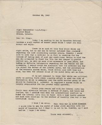 Letter from C. Mortimer Bezeau to William Lyon Mackenzie King, October 22, 1940