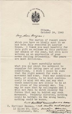 Letter from William Lyon Mackenzie King to C. Mortimer Bezeau, October 24, 1940