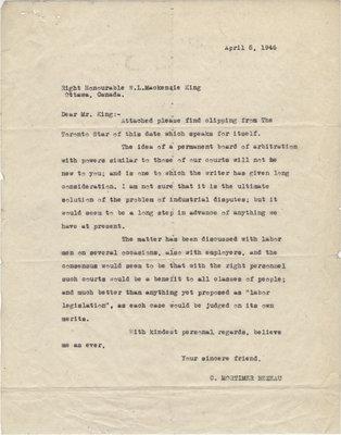 Letter from C. Mortimer Bezeau to William Lyon Mackenzie King, April 5, 1946