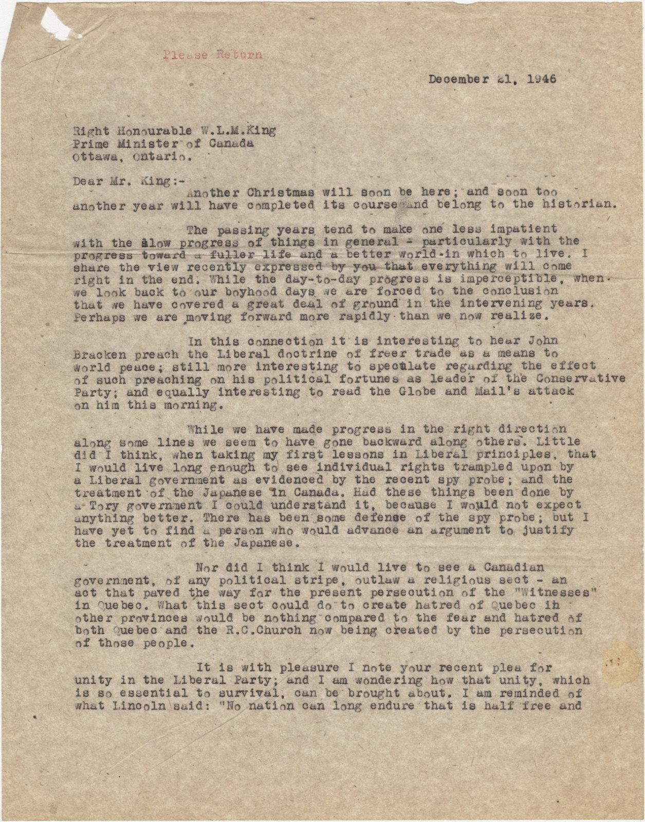 Letter from C. Mortimer Bezeau to William Lyon Mackenzie King, December 21, 1946