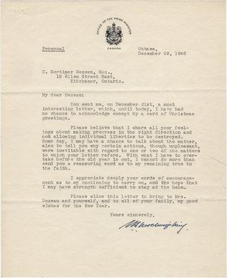 Letter from William Lyon Mackenzie King to C. Mortimer Bezeau, December 29, 1946
