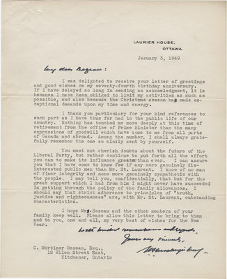 Letter from William Lyon Mackenzie King to C. Mortimer Bezeau, January 3, 1949