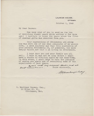 Letter from William Lyon Mackenzie King to C. Mortimer Bezeau, October 8, 1949